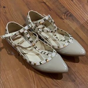 Nude studded flat shoes ankle strap